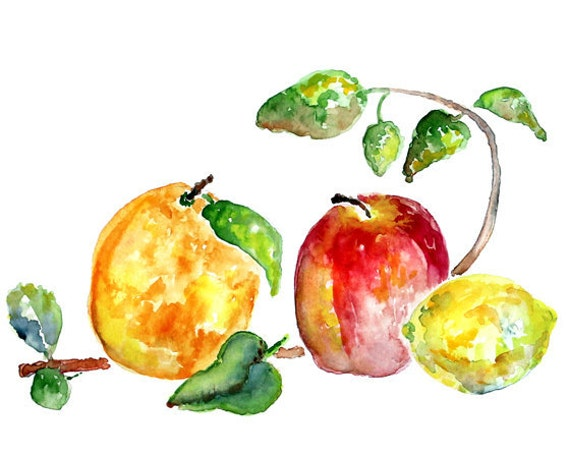 Apple Print. kitchen decor. watercolor. kitchen art. Kitchen Painting. 11x14 or 8x10, kitchen wall art. fruit painting