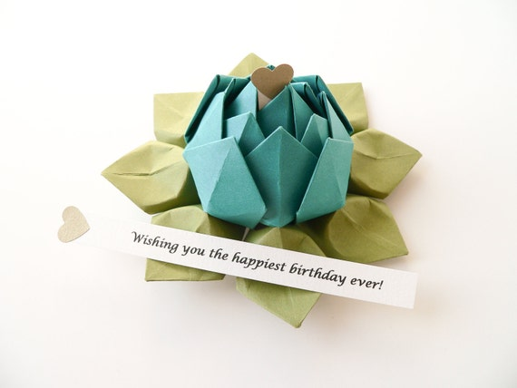 Origami Lotus Flower with a PERSONALIZED Secret Message  in Peacock and Moss with gift box - Graduation, Birthday, Father's Day