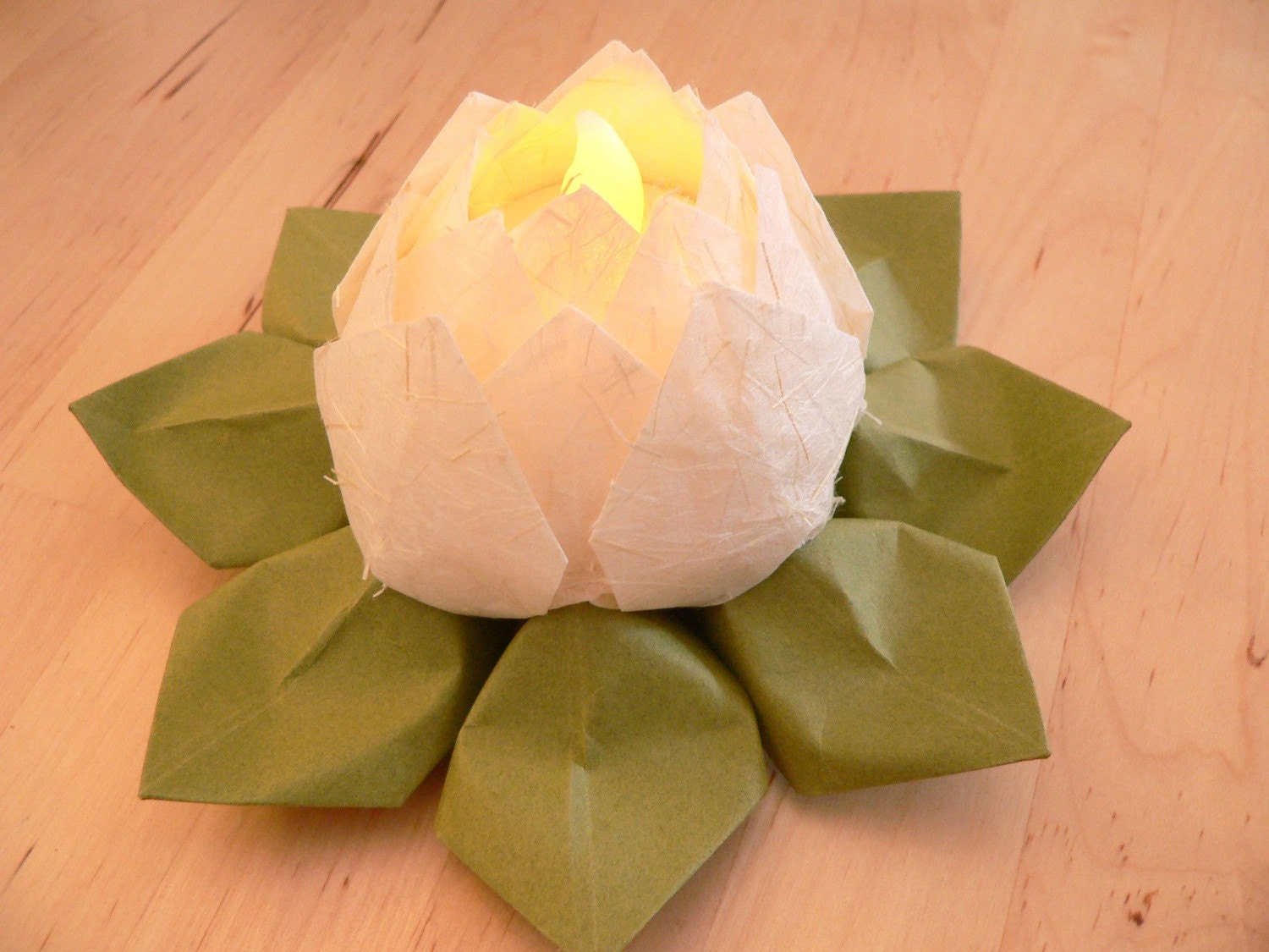lighted paper flower origami paper lotus with led tea