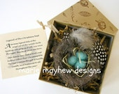 HAND-KNIT. Wool Knitted & Felted Bird Nest and Eggs Ornament complete with Decorative Box. Hand-Knit for You.
