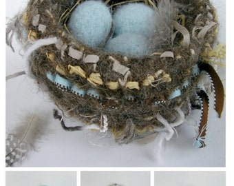 PATTERN-BOOKLET. A Knit & Felt Wool Bird Nest and Eggs Pattern