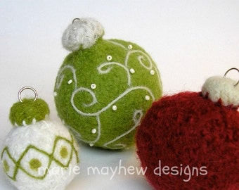 PATTERN-BOOKLET. A Knit & Felt Wool Holiday Ornaments Pattern