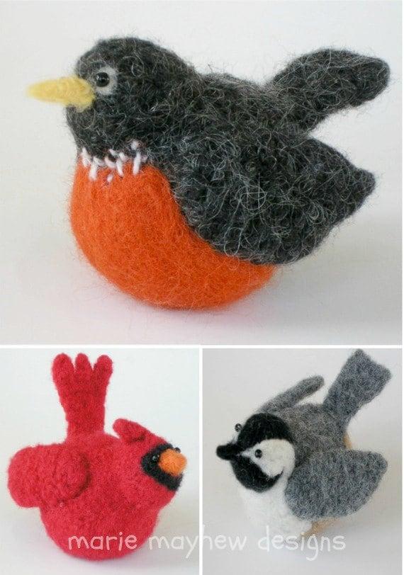 Knitted Bird Pattern : PATTERN-BOOKLET. A Knit & Felt Wool Birds Pattern
