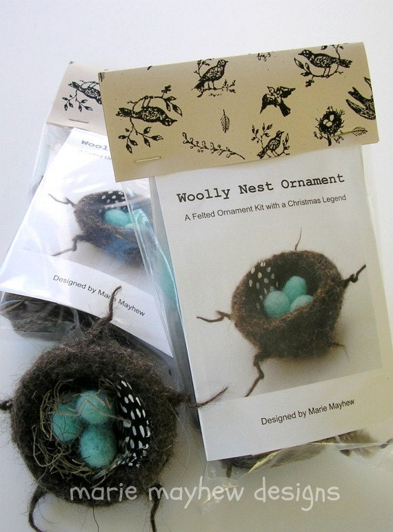 KIT-PATTERN. A Knit & Felt Wool Nest Ornament Pattern and Kit