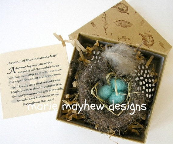HAND KNIT. Wool Knitted & Felted Bird Nest and Eggs Ornament complete with Decorative Box. Hand-Knit for You.