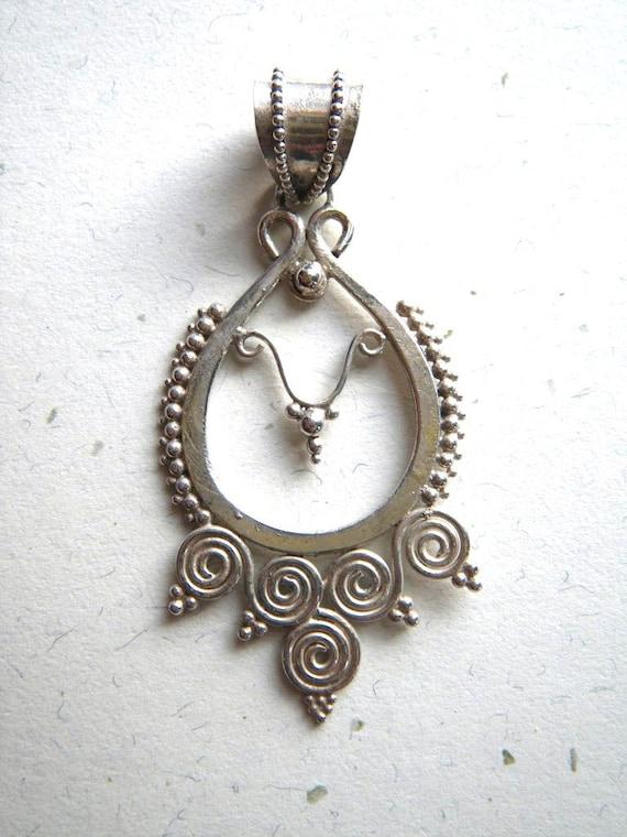 Vintage Large Asian Silver Filigree Teardrop Swirl Pendant