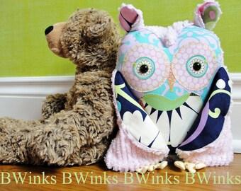 Handmade Medium Pink Girl Plush Stuffed Owl Pillow - BWinks' Cotton and Chenille Pink Owl Pillow