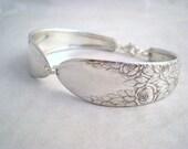 Spoon Bracelet, FREE CUSTOM ENGRAVING, Wedding Bridesmaid Bridal Bracelet,  Jewelry Silver Vintage Silverware Shabby Chic Rose and Leaf 1937