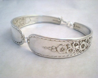 Vintage Spoon Bracelet, Silver Spoon Jewelry, Floral Flower, Vintage Wedding, Hollyhock, Silverware Jewelry Silver HOLLYHOCK 1930
