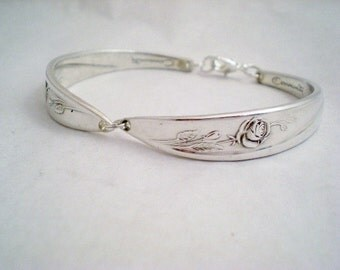 Spoon Bracelet,  MORNING ROSE 1960, Bridesmaid Bracelet, Shabby Chic, Silverware, Vintage Wedding Jewelry, Bridesmaid Gift, Silver Bracelet