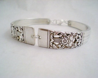 Spoon Bracelet, Bridesmaid Bracelet, Shabby Chic, Filigree, Vintage Silverware Jewelry, Silver Bracelet, Bridal Bracelet - CORONATION 1936