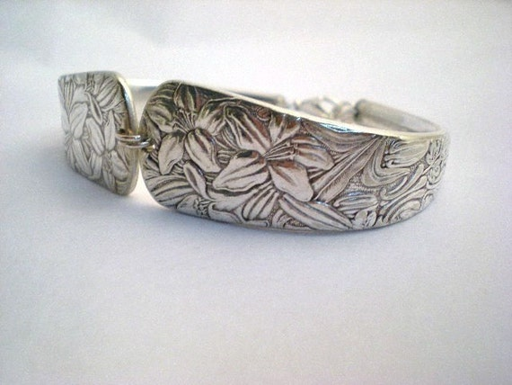 Antique Spoon Bracelet, Silverware Jewelry, Flower Lily, Bridesmaid Gift, Easter Lily, Wedding Jewelry, Antique Silverware  EMBOSSED 1882