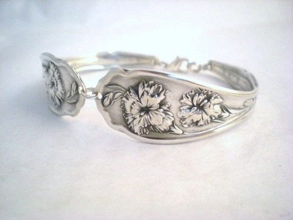 Spoon Bracelet, Antique Silverware, Floral, Shabby Chic, Silverware Jewelry, Bridesmaid Bracelet, Wedding Jewelry CARNATION 1908
