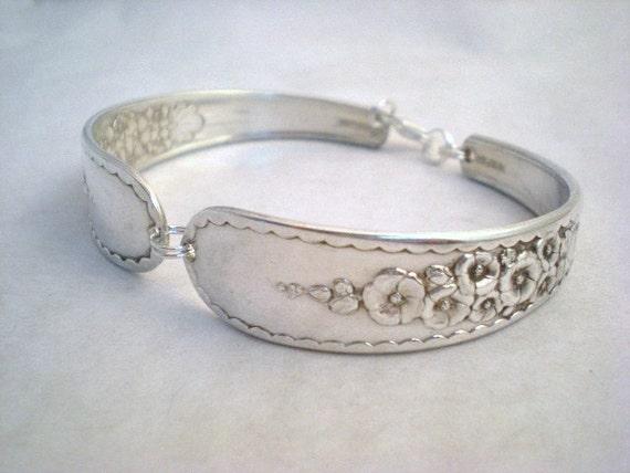 Vintage Spoon Bracelet, Silver Spoon Jewelry, Floral Flower, Vintage Wedding, Hollyhock, Silverware Jewelry Silver HOLLYHOCK 1930