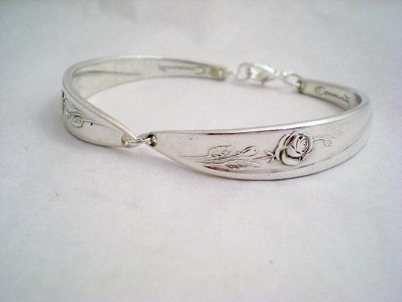 FLOWERGIRL Spoon Bracelet, Vintage Silverware Jewelry, Vintage Wedding, Girls Jewelry, Childrens Bracelet, Mother Daughter MORNING ROSE 1960