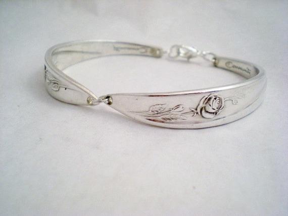 Spoon Bracelet,  MORNING ROSE 1960, Bridesmaid Bracelet, Shabby Chic, Silverware, Vintage Wedding Jewelry, Bridesmaid Gift, Silver Bracelet