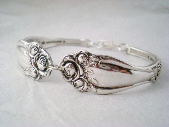 Spoon Bracelet, Antique Silverware Jewelry, Rose Jewelry, Vintage Wedding, Bridesmaid Gift AMERICAN BEAUTY ROSE 1909