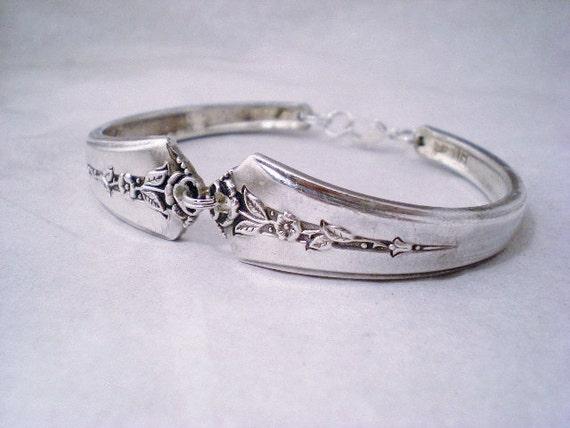 Vintage Jewelry, Silverware Spoon Bracelet, Vintage Silverware Jewelry, Vintage Wedding, Bridesmaid Jewelry SPRING GARDEN 1949