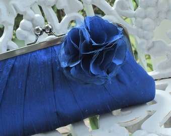 Bridal Clutch, Bridesmaid Purse, Wedding Clutch, Silk Clutch, Something Blue, Prom (CHOOSE Your COLOR) {Precious Pleat Kisslock w/ BLOOM}