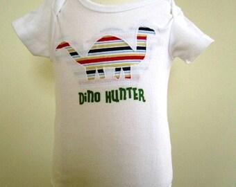 SALE Dinosaur Bodysuit Boys T Shirt Transfer Reverse Applique Infant - Size 3 Months