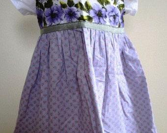 SALE Girl's Dress Vintage Hankie Floral Dainty Handmade Lavender  - Size 18 Months