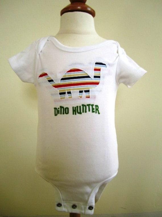 CLEARANCE Dinosaur Bodysuit Boys T Shirt Transfer Reverse Applique Infant - Size 3 Months