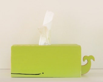 PRE-ORDER: Whale Tissue Holder - Green - Ships July 30th / nursery gift baby gift baby shower nautical pirate handmade woodworking