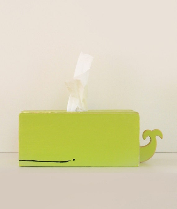 PRE-ORDER SALE - Whale Tissue Holder - Green - Ships Feb 23rd/24th / nursery gift baby gift baby shower nautical pirate handmade woodworking