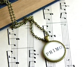 SALE- Black friday cyber mondaySheet music necklace.  Antiqued bronze pendant with real vintage sheet music under glass dome. Primo