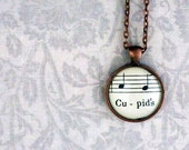 Sheet music necklace.  Copper pendant with real vintage sheet music under glass dome.  Valentines day gift.  Cupids