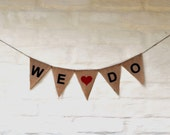 SALE WE DO Hessian Burlap Wedding Celebration Party Banner Bunting Decoration Garland Photo prop