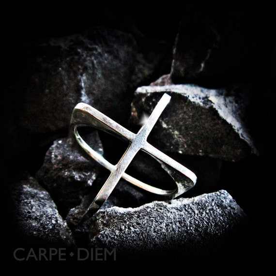 Mens Silver Ring X Sterling Cross Rings from Carpe Diem Jewelry