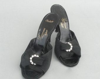 Vintage 1940s 1950s  Black Slide Mule by PARAMOUNT DESIGNED BY Kalmon Formal Heels size 9.5 S