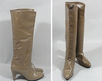 vintage 1980s Calf High Taupe Leather Boots  by JOYCE OF CALIFORNIA