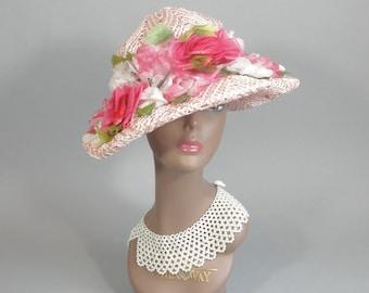 Vintage 1920s Pink Floral Wide Brim Hat