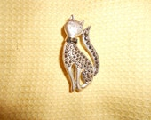 "Siamese Cat Brooch with Black Marcasite Faceted Stone Embedded Fur-Cute Feline Sassy Chic with High Fashion ""Cattitude"""