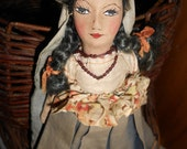 Mexican Folk Art Doll With Hand Painted Fabric Face and Hand Sewn Body -Vintage