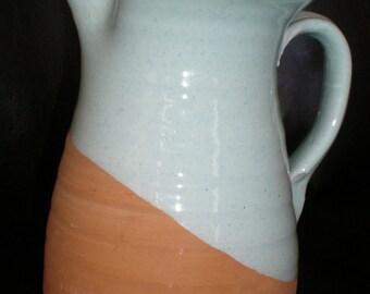 Terracotta Pitcher Tuscan Heaven & Earth -Sky Blue Italian Pottery - Hand Thrown Mediterranean Beauty