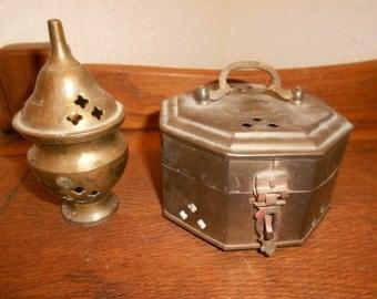 Brass Incense Burner & Cricket Box Matching Set Beautifylly Paired 60s Era Vintage Indian Brass