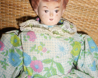 Creepy Doll-Shabby Cottage Bisque Head Doll Hand Sewn Body Very Steampunk Cottage Rag-Body -Kinda Creepy