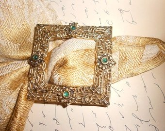 Art Deco-Etruscan Style Buckle Brooch Convertible And Ornate Filigree Unisex Beauty -Great Steampunk Necktie Accessory