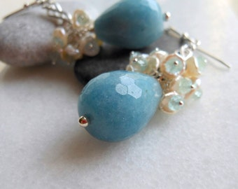 Aquamarine Keishi Natural Pearls Cluster Sterling Silver Earrings March Birthstone