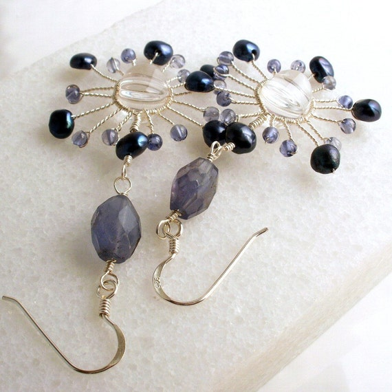 Wire Wrapped Iolite Crystal Quartz Blue Pearls Sterling Silver Earrings