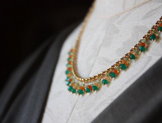 Green onyx, orange carnelian, and lemon quartz gemstone beaded fringe gold necklace N94-G