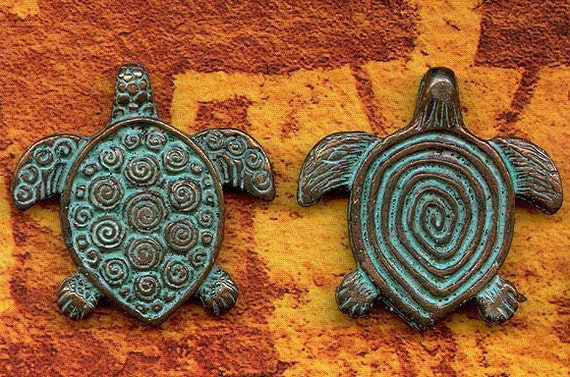 SALE Spiral Turtle Pendant - Totem Animal with Rustic Verdgris Patina... Charming - CTPG1