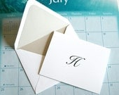 Custom Monogram Note Cards, Create Your Own, Set of Ten, Lined Envelopes, Wedding Engagement Shower, Thank You, Customized Initial or Name