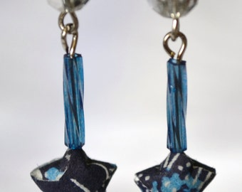 Origami Star Earrings Blue and Silver