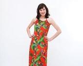 Clearance - Vintage 1970s Halter Dress - 70s Maxi Dress - Bright Coral Tribal Print