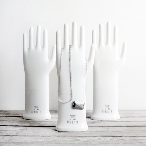set of three vintage porcelain glove molds / test tube rack / owl bell - reserved for janet