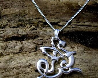 Celtic Dragon Pendant, Silver Dragon necklace, Welsh dragon, Dragon jewelry, Celtic Knot, Art Nouveau Dragon, Fantasy jewelry, Dragon Gifts.